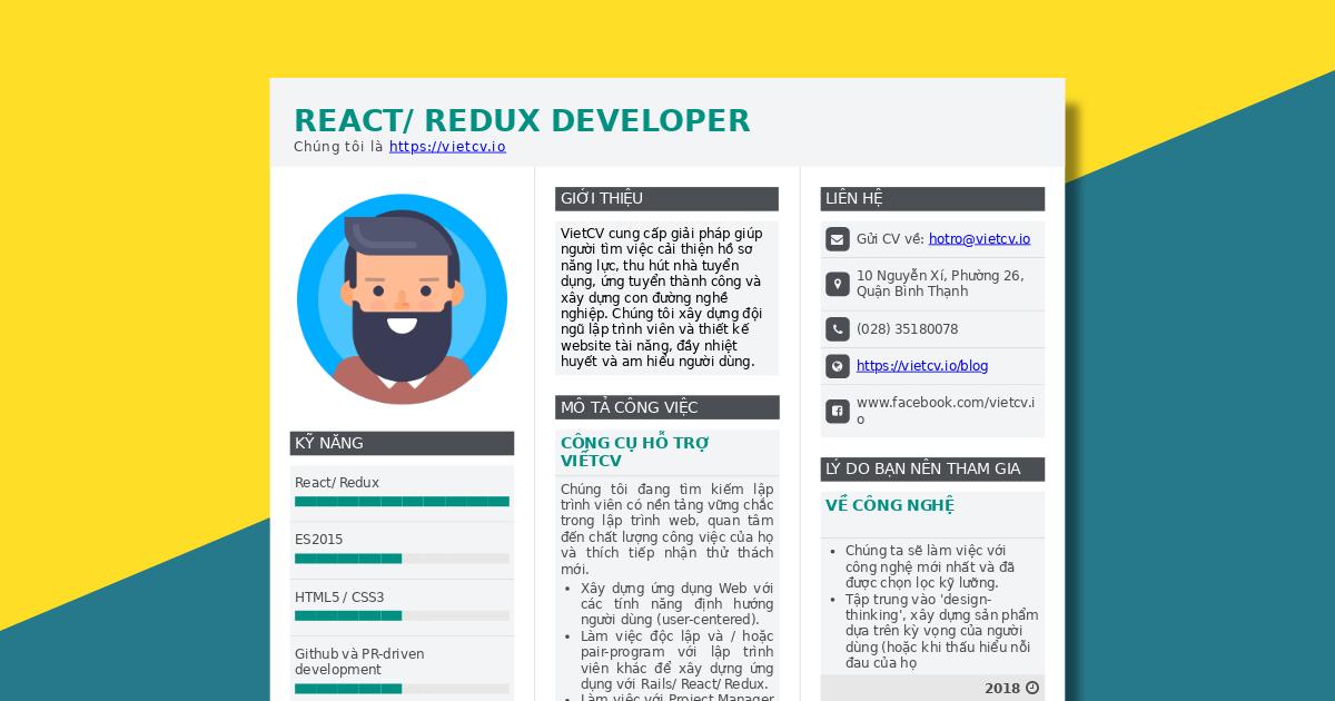 VietCV Tuyển dụng React/Redux Developer