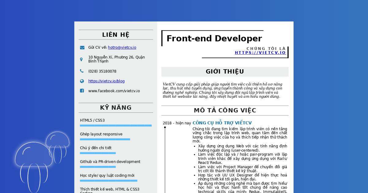 VietCV tuyển dụng Front-end Developer