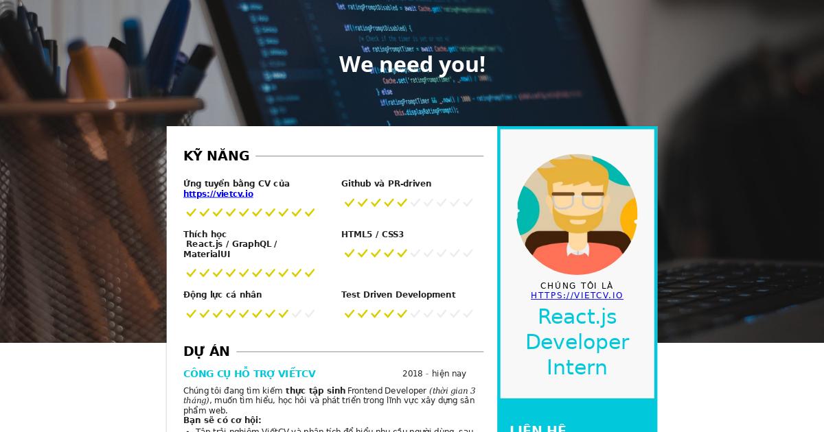 VietCV tuyển dụng React/Redux Developer Intern